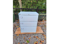 Silverline 3 Drawer Wide Filing Cabinet Storage Cabinet in White