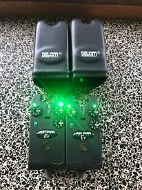 2 x delkim ev plus alarms green carp fishing