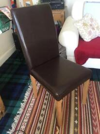 Faux leather wooden chair