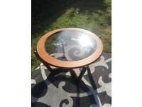 Small glass & wood circular table