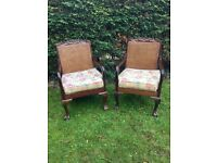 2 Charming Rattan Antique Chairs