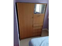 wardrobe cupboard tallboy with hanger bar shelve drawer in real wood shelf retro style