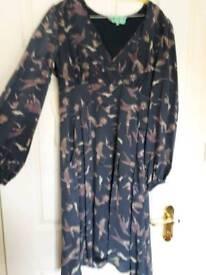 Silk dress V neck long sleeves knee length