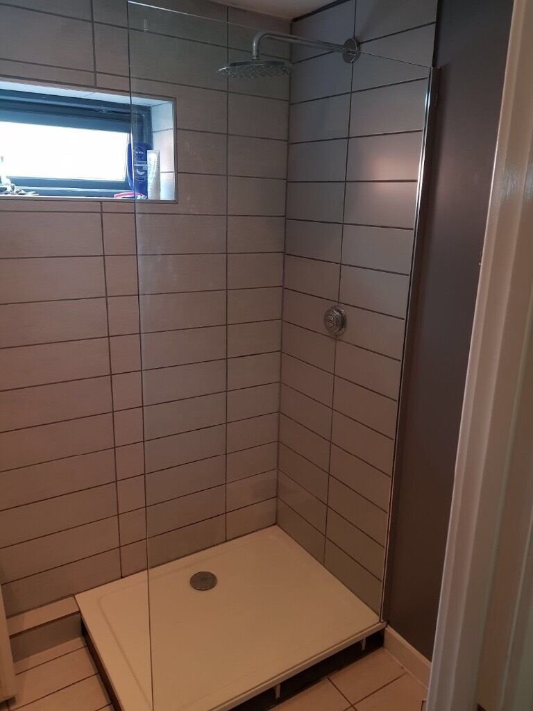 Wet room safety glass shower screen 958mm width 2000mm height