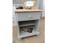 Pine shabby chic bedside table in Paris Grey