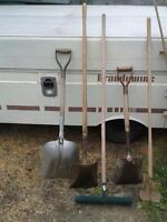 shovels, hoe, rake