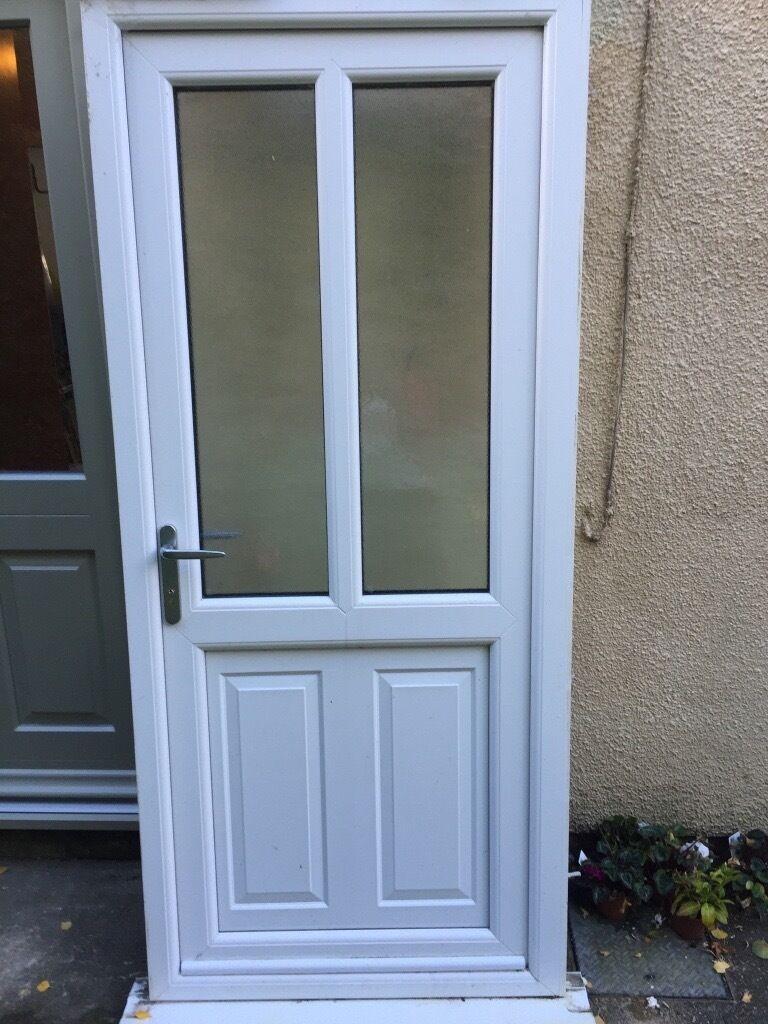 uPVC door white 2 glass panels vgc