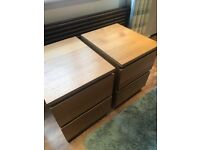 Ikea malm oak bedside drawers x 2