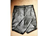 Excellent quality black leather trousers, worn once or twice only, look like new 38 waist/31 Leg