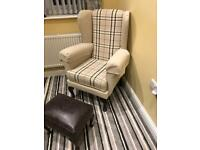 Cream check high back chair with footstool