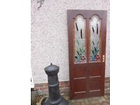soild wooden extrnal door with stained glass panels