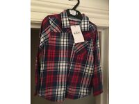NEW UNUSED M&S checked long sleeve shirt. Size 4-5 years