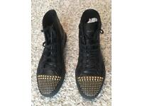 Gucci black leather studded high top sneakers