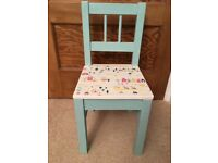 Child chair - wooden - hand painted - decoupaged - upcycled