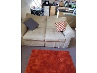 2 x 2 seater fabric sofas. Beige in colour. Excellent condition.