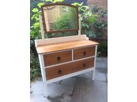 Solid oak chest of drawers, dresser, mirror, bedroom