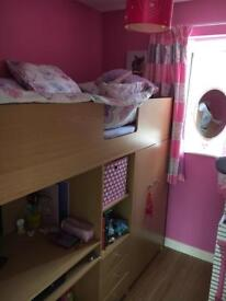 High sleeper bed with built in wardrobes