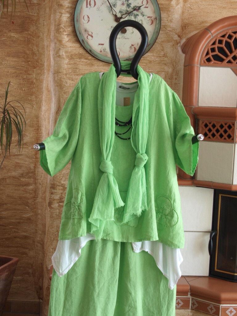 8202 LABASS Sommer 2016 3/4 Arm Leinen Shirt ANKE apfel grün Gr. XXL 52 54