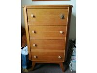 RETRO VINTAGE WOODEN CHEST OF DRAWERS