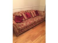 Large 3, 2 and 1 gold and red sofas