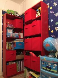 Kids IKEA Red Shelves (2) + 1 box of toys