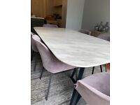 Stunning White Marble Look Dining Table & Beautiful Suede Chairs with Armrests