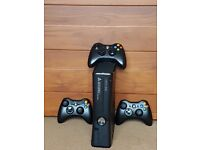 Xbox 360 [includes wires, 3 controllers, 16-18 games + charger.