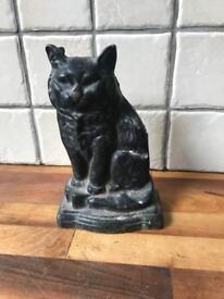 Lovely Black Cat Cast Iron Doorstop