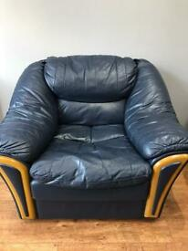Navy Blue Single Seater Leather Sofa (Used)