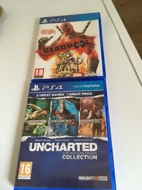 Deadpool and uncharted collection ps4