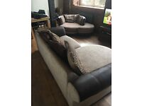 Large Corner Sofa with 2 Seater Swivel Cuddle Chair & Footstool