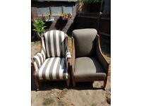 2× upholsterd vintage style chairs good for a project