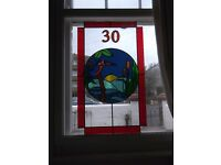 Number 30 Kingfisher At Sunset - 85cmX50cm Glass Art panel - door, window or wall