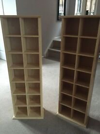CD Storage Towers. Beech Wood. No marks. £20 each.