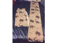 """Next one pair of dinosaur lined curtains 66x72"""""""