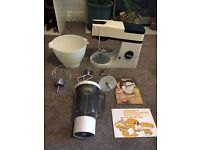 Vintage Kenwood Chef with attachments, blender, cover and recipe books