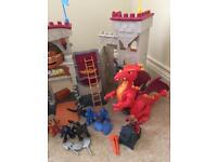 Huge Imaginext Fisher Price interactive castle bundle dragon lion wolf figures