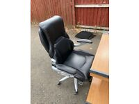 Leather computer chair and desk