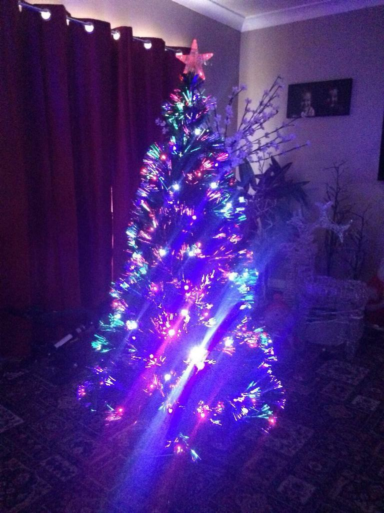 Fibre optic xmas tree with built in lights