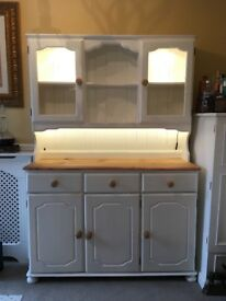 White and pine dresser with glass doors on top, 3 doors and 3 drawers on the bottom. Shabby chic