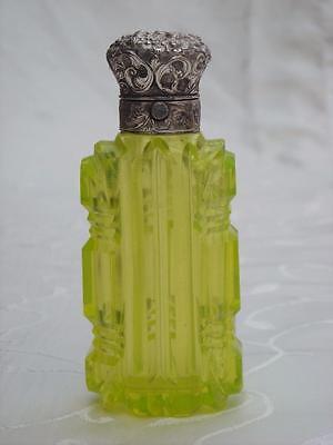 ANTIQUE URANIUM / VASELINE GLASS PERFUME SCENT BOTTLE SILVER LID C1880
