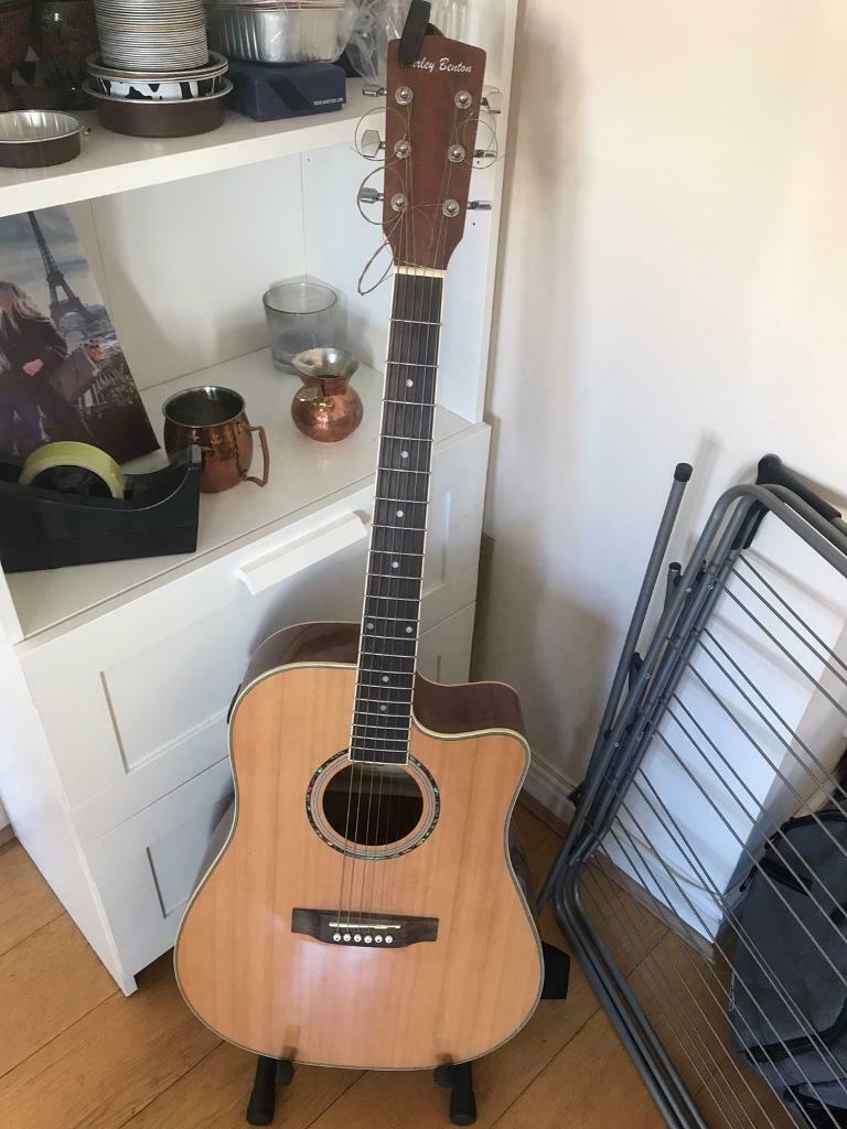 Harley Benton Acoustic Guitar with pickups (stand included) | in Greenwich,  London | Gumtree