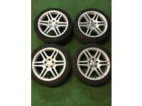"""AMG MERCEDES C CLASS W204 17"""" STAGGERED ALLOY WHEELS for sale  Enfield, London"""
