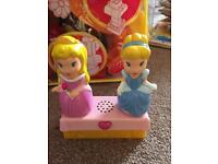 Bag of Lego mega Bloks with 2 princesses and chime