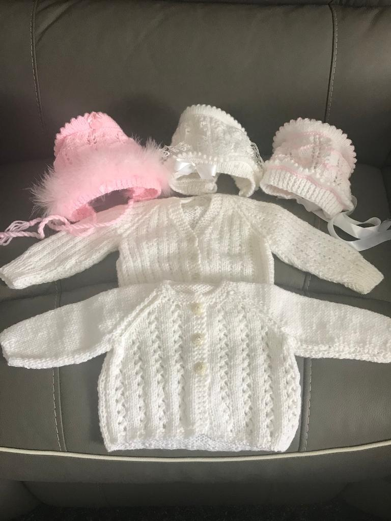 ee042118a Hand knitted baby girl cardigans   hats