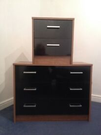 Black gloss wardrobe, bedside cabinet and 3 draws