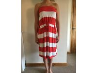 NEXT SIZE 10 RED AND WHITE STRIPED SUMMER DRESS
