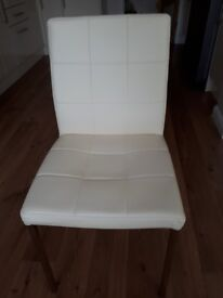 Dining Chairs in Cream faux leather