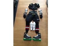 Full set of ice hockey gear.