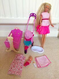 barbie, baby, crib, baby bath and buggy £5 ONO